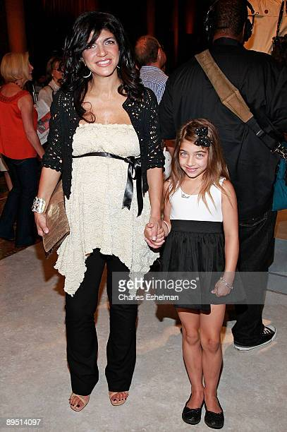 New Jersey Housewive Teresa Giudice and daughter attend the finale of Bravo's 'The Fashion Show' at Cipriani Wall Street on June 26 2009 in New York...