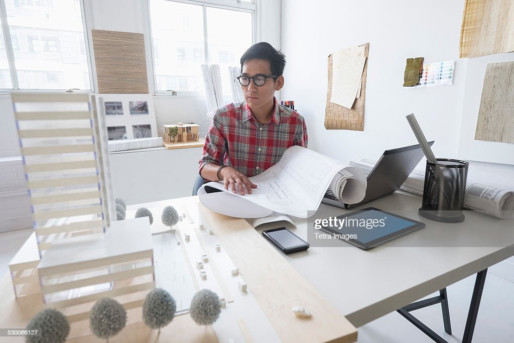 Usa New Jersey Jersey City Architect Working In Office Stock