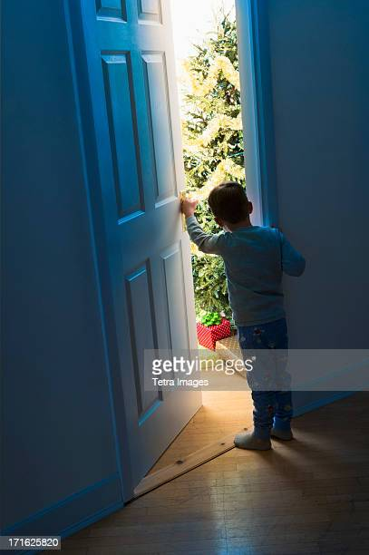 USA, New Jersey, Jersey City, Boy (4-5) peeking through doorway