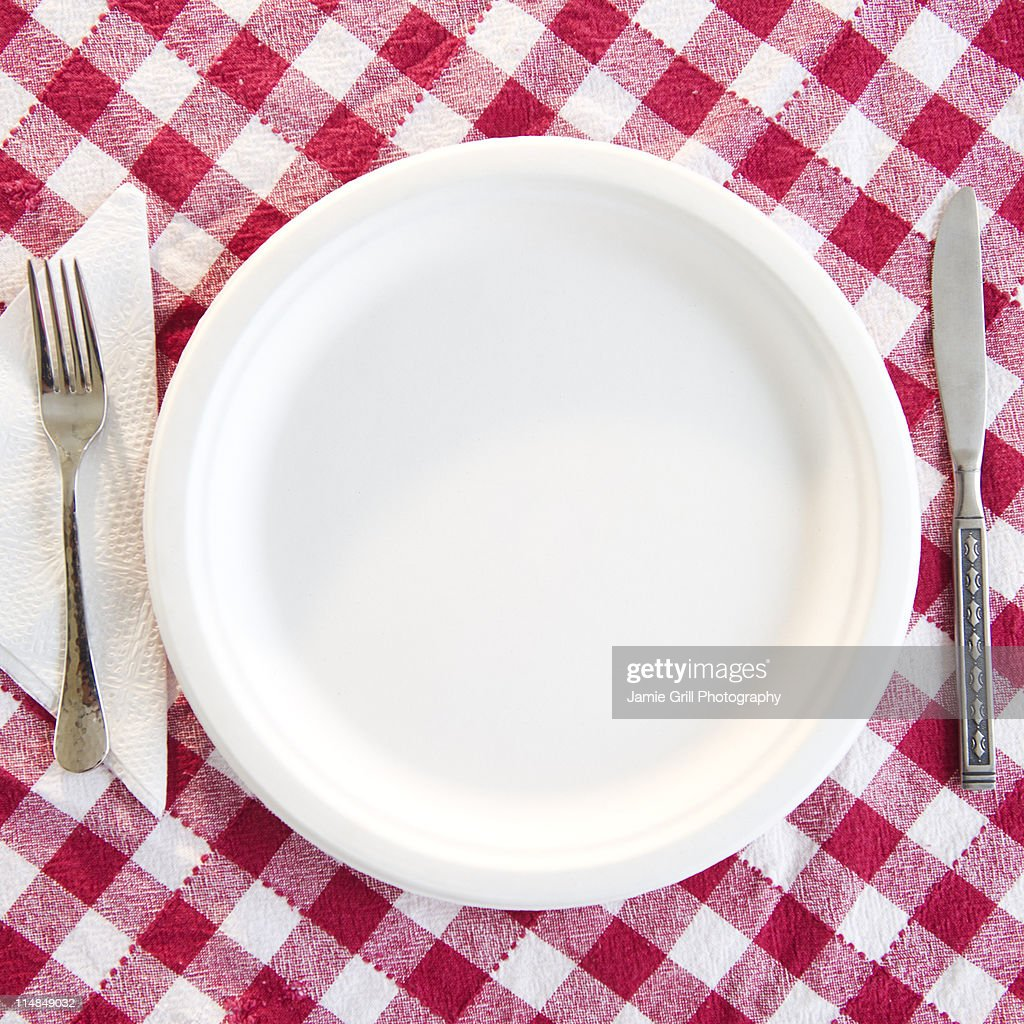 USA, New Jersey, Jersey City, close up empty plate on checked table cloth