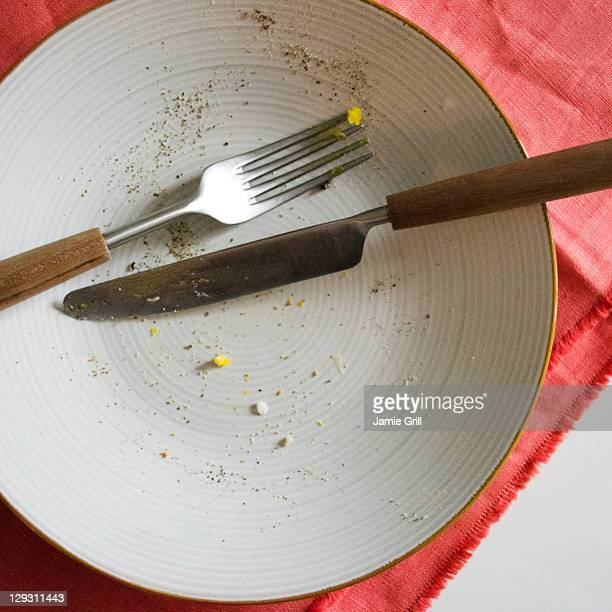 USA, New Jersey, Jersey City, Close up of empty plate after meal