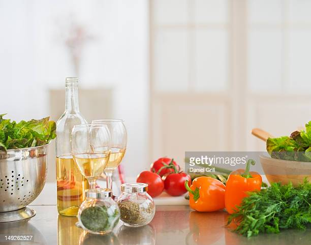 USA, New Jersey, Jersey City, Close up of food preparation in kitchen