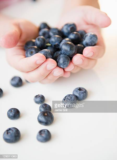 USA, New Jersey, Jersey City, Close up of girl's (8-9) hands holding blueberries