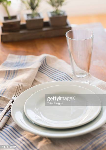 USA, New Jersey, Jersey City, Close up of place setting