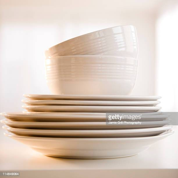 USA, New Jersey, Jersey City, close up of stack of dinnerware