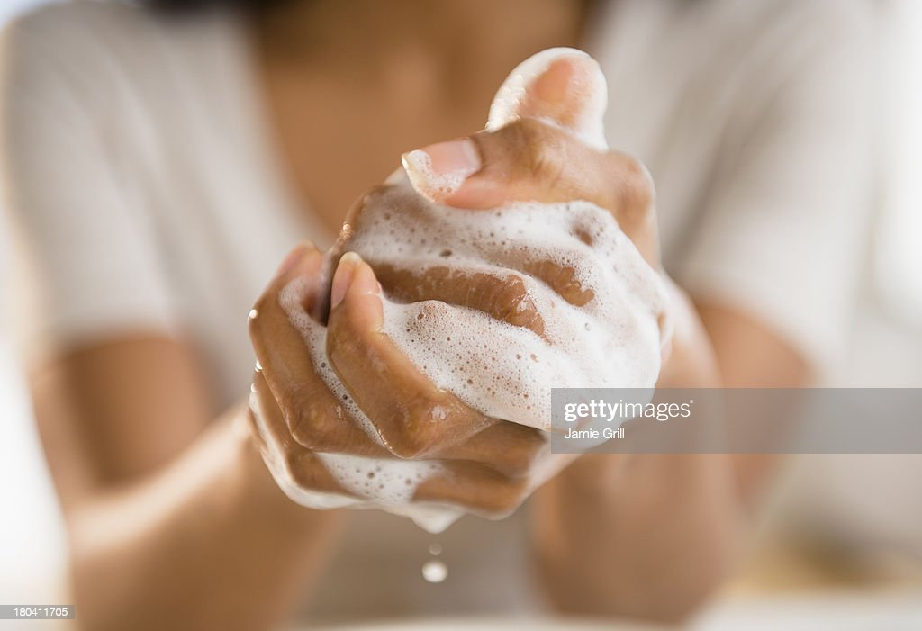 USA, New Jersey, Jersey City, Close up of woman washing her hands