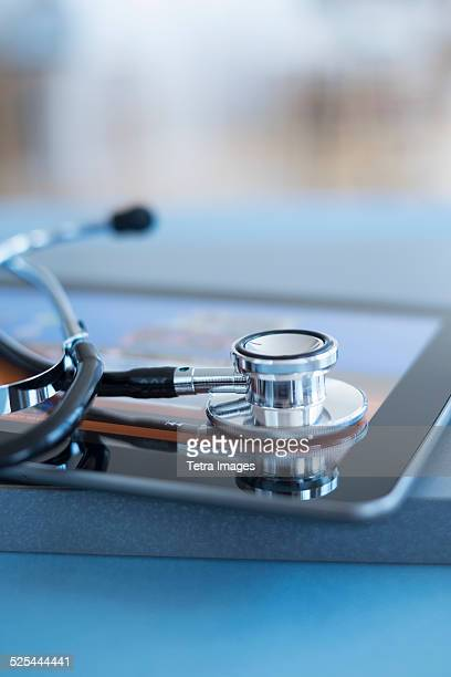 USA, New Jersey, Jersey City, Close up view of stetoscope on digital tablet