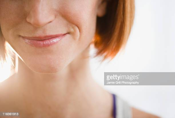 USA, New Jersey, Jersey City, close-up of woman's lips