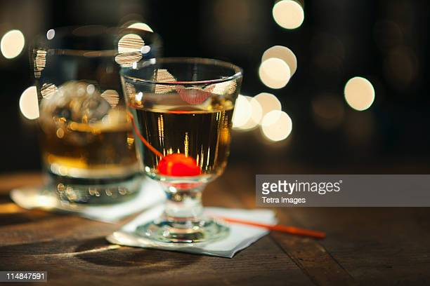 USA, New Jersey, Jersey City, Close-up view of alcoholic drinks on bar counter