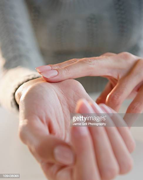 USA, New Jersey, Jersey City, Close-up view of woman hands