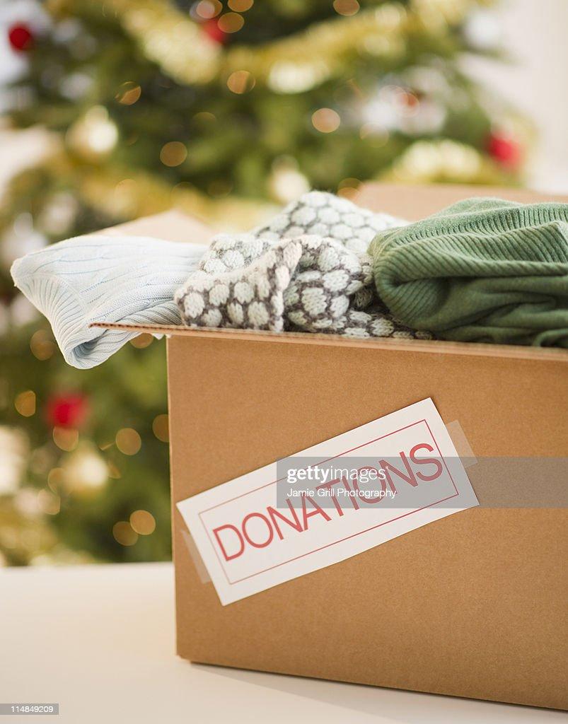 USA, New Jersey, Jersey City, Clothes donations box : Stock Photo