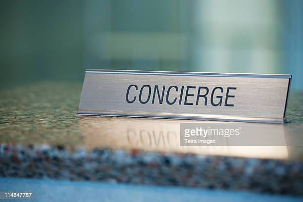 USA, New Jersey, Jersey City, Concierge nameplate