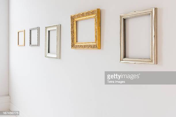 USA, New Jersey, Jersey City, Empty picture frames in art gallery