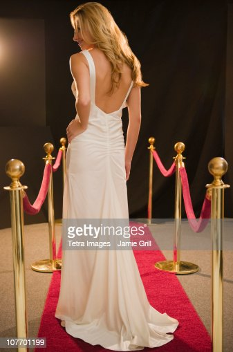 USA, New Jersey, Jersey City, Female celebrity at red carpet event