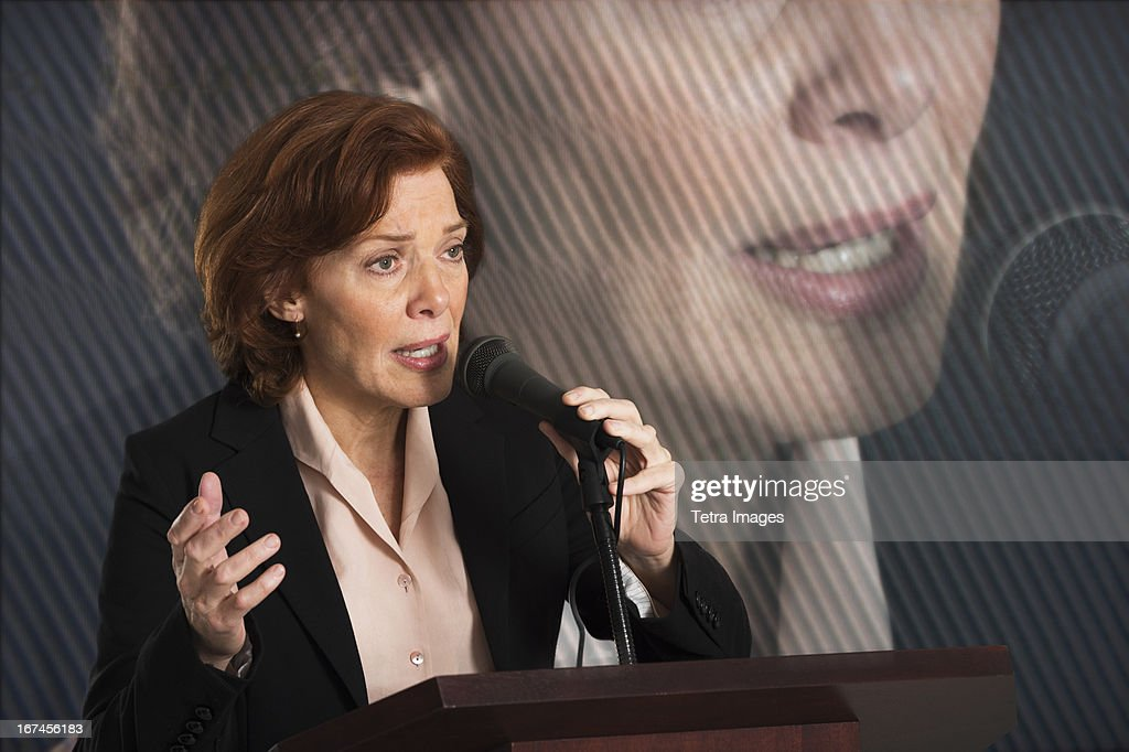 USA, New Jersey, Jersey City, Female politician performing speech