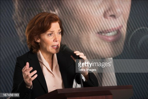 USA, New Jersey, Jersey City, Female politician performing speech : Stock Photo