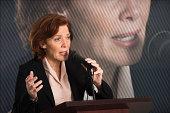 USA, New Jersey, Jersey City, Female politician performing speech