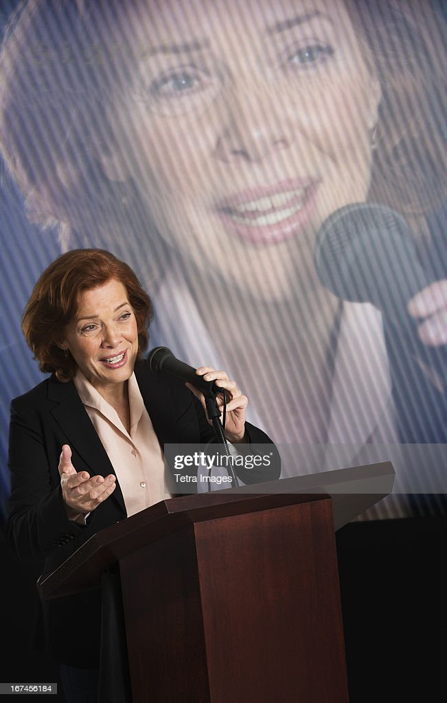 USA, New Jersey, Jersey City, Female politician performing speech : Stock Photo