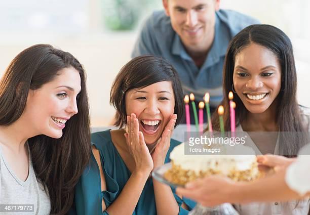 USA, New Jersey, Jersey City, Friends celebrating birthday