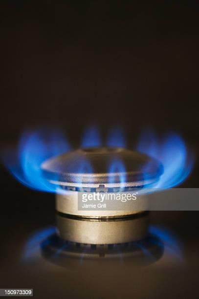 USA, New Jersey, Jersey City, Gas stove burner
