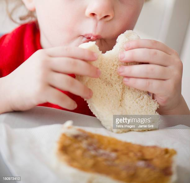 USA, New Jersey, Jersey City, Girl (2-3) eating sandwich