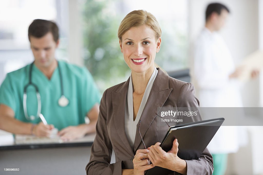 USA, New Jersey, Jersey City, Portrait of businesswoman in hospital