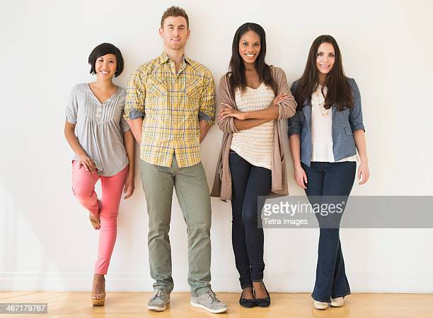 USA, New Jersey, Jersey City, Portrait of four young friends