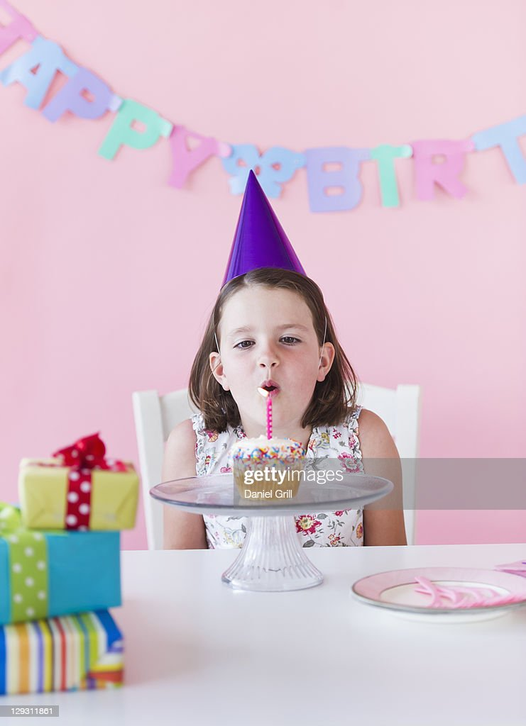 USA, New Jersey, Jersey City, Portrait of girl (6-7) celebrating birthday : Stock Photo