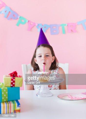 USA, New Jersey, Jersey City, Portrait of girl (6-7) celebrating birthday : Stock Photo