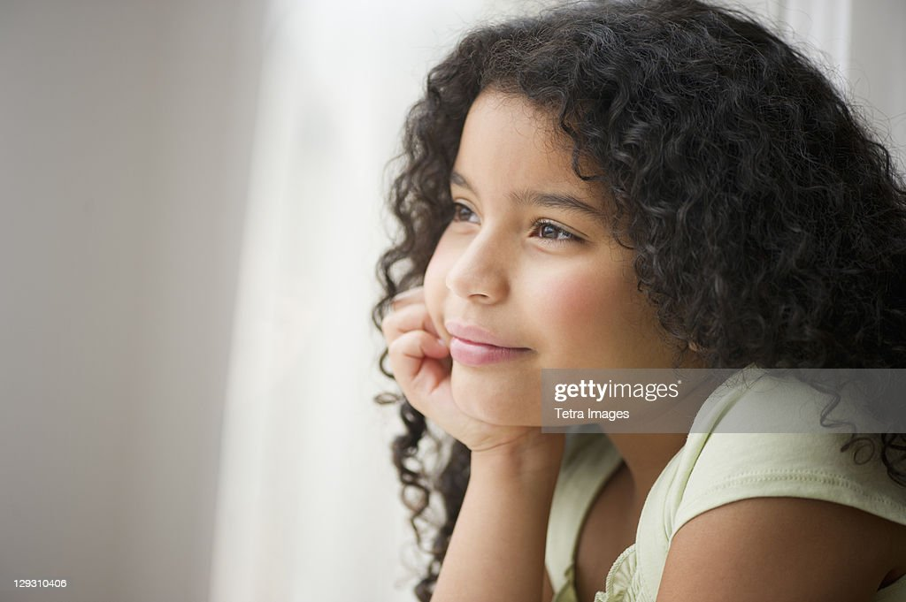 USA, New Jersey, Jersey City, Portrait of girl (8-9) : Stock Photo