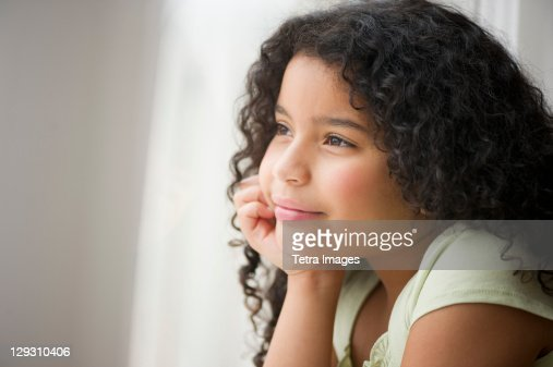 USA, New Jersey, Jersey City, Portrait of girl (8-9) : Stock Photo