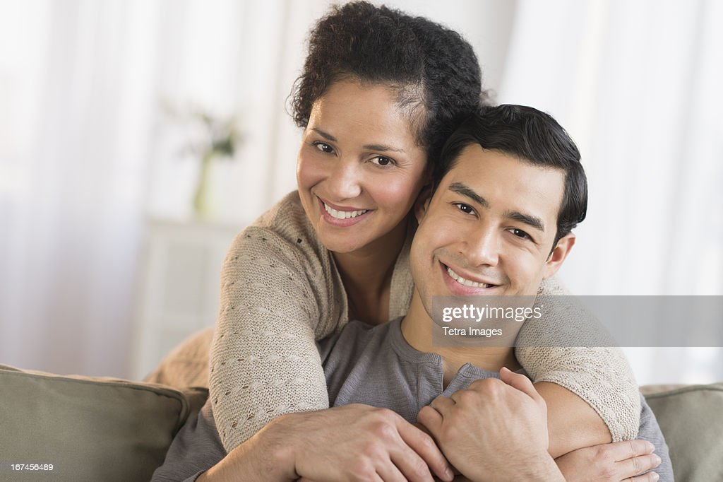 USA, New Jersey, Jersey City, Portrait of happy couple embracing : Stock Photo