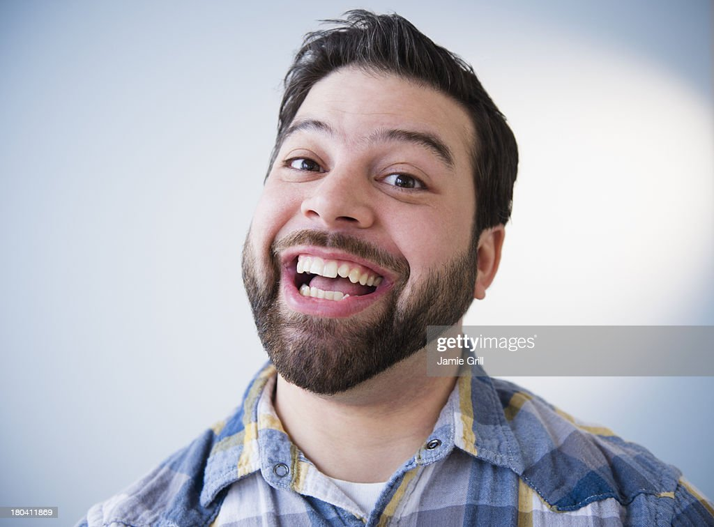 USA, New Jersey, Jersey City, Portrait of happy man, laughing