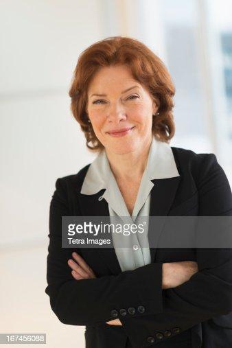 USA, New Jersey, Jersey City, Portrait of senior businesswoman : Stock Photo