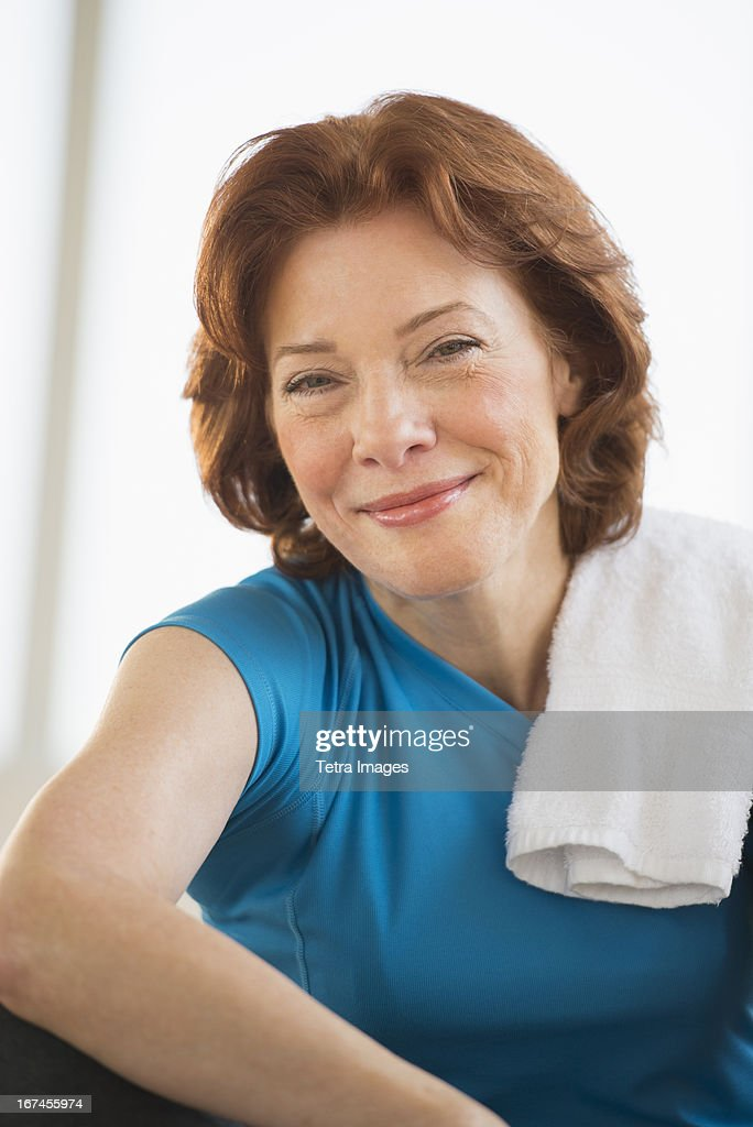 USA, New Jersey, Jersey City, Portrait of senior woman in gym : Stock Photo