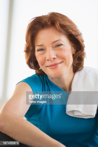 usa new jersey jersey city portrait of senior woman in gym photo getty images. Black Bedroom Furniture Sets. Home Design Ideas