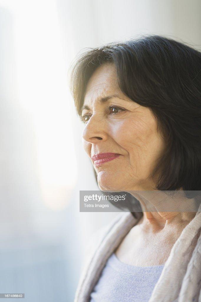 USA, New Jersey, Jersey City, Portrait of senior woman : Stock Photo