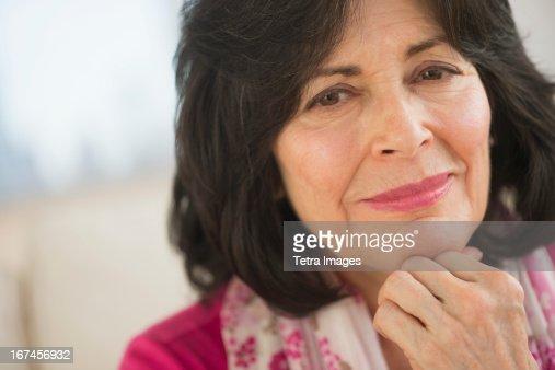 USA, New Jersey, Jersey City, Portrait of senior woman wearing pink : Stock Photo