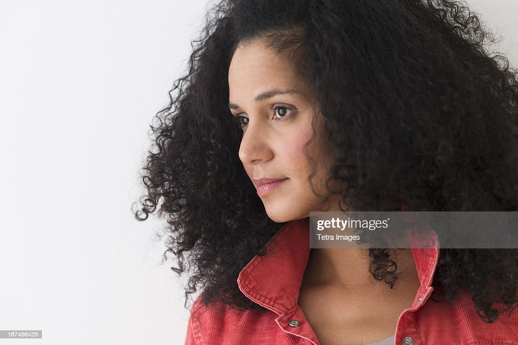 USA, New Jersey, Jersey City, Portrait of woman with afro hair : Stock Photo