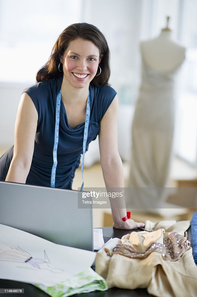 USA, New Jersey, Jersey City, Portrait of young fashion designer at work : Stock Photo