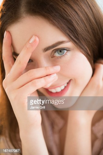 USA, New Jersey, Jersey City, Portrait of young woman : Stock Photo
