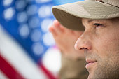 USA, New Jersey, Jersey City, profile of US army soldier