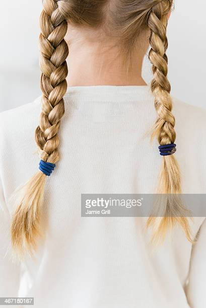 USA, New Jersey, Jersey City, Rear view of girl (8-9) with plaits