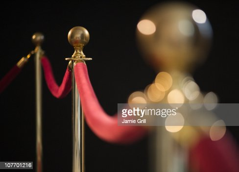 USA, New Jersey, Jersey City, Rope barrier at red carpet event