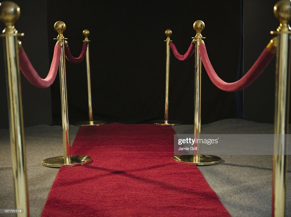 USA, New Jersey, Jersey City, Rope barriers at red carpet event : Stock Photo
