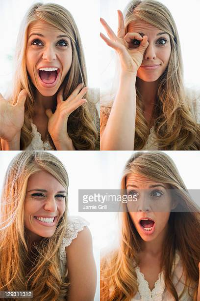USA, New Jersey, Jersey City, Sequence of portraits of blonde woman making faces