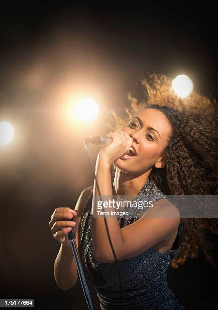 USA, New Jersey, Jersey City, Stage performance of young singer