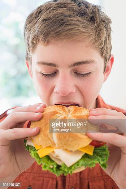 USA, New Jersey, Jersey City, Teenage boy (16-17) eating cheese and turkey sandwich