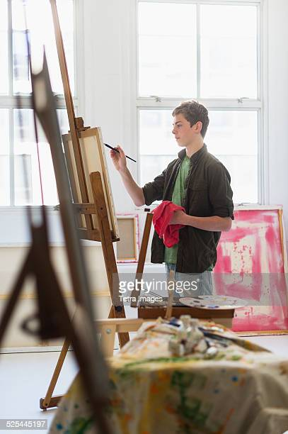 USA, New Jersey, Jersey City, Teenage boy (16-17) painting picture