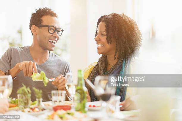 USA, New Jersey, Jersey City, Two friends enjoying dinner party